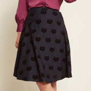 Collectif flocked cat skirt UK size 8